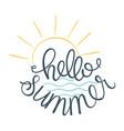 hello summer sun icon and sea vector image vector image