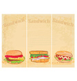 Horizontal grunge background with sandwich set vector image
