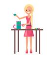 joyful blonde girl with cute handicraft kitten vector image vector image