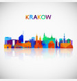 krakow skyline silhouette in colorful geometric vector image vector image