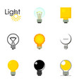 lightbulb logotype icons set cartoon style vector image vector image