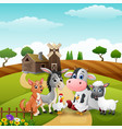 litte animals at farm background vector image vector image