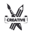 logo brush and pencil for creativity vector image