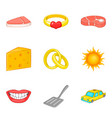 lovely dinner icons set cartoon style vector image vector image