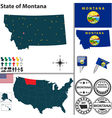 Map of Montana vector image vector image