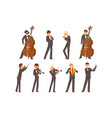 musicians symphonic orchestra and conductor vector image vector image