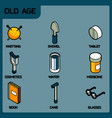 old age color outline isometric icons vector image vector image