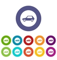 Only motor vehicles allowed road sign set icons vector image