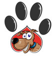 paw print with dog cartoon isolated on white vector image vector image