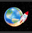 planet earth with launching space rocket vector image vector image