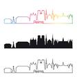 reims skyline linear style with rainbow vector image vector image