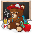 school student teddy bear cartoon vector image