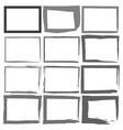 set grunge black frames on a white background vector image vector image