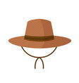 straw hat with straps isolated on white background vector image
