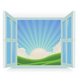 summer landscape outside the window vector image vector image