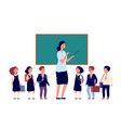 teacher and students elementary school pupils vector image vector image