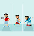 three sports hipsters vector image