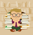 unhappy nerd boy sitting in school library vector image