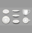 white plates or cups with gold border isolated set vector image