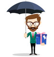 young man holding a gift for you under an umbrella vector image vector image