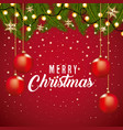 merry christmas card border decoration branch tree vector image