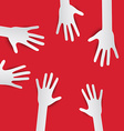 Paper Cut Hands Hands on Red Background Hands Set vector image