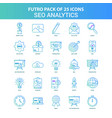 25 green and blue futuro seo analytics icon pack vector image