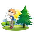 A man reading newspaper near the pine tree vector image vector image
