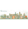 abstract varanasi skyline with color buildings vector image vector image