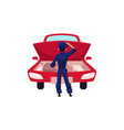 auto mechanic repairman looking at car engine vector image