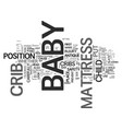 baby crib advice and tips text word cloud concept vector image vector image