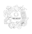 Breakfast Food Framing The Text Hand Drawn vector image vector image