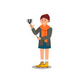 cheerful young girl tourist making selfie and vector image vector image