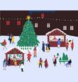 christmas fair flat winter vector image vector image