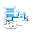 cloud computing folder database center statistics vector image vector image
