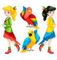 colorful people and birds vector image