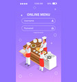 cooking isometric background vector image vector image