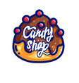 creative label promoting candy shop vector image