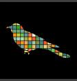 cuckoo bird mosaic color silhouette animal vector image vector image