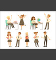cute pupils in grey school uniform having fun at vector image vector image