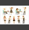 cute pupils in grey school uniform having fun vector image vector image