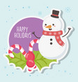 cute snowman with scarf and candy canes merry vector image vector image