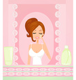 Cute woman applying moisturizer vector image vector image