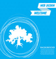 decorative green simple tree icon on a blue vector image vector image
