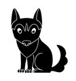 dog silhouette cute husky puppy - black silhouette vector image vector image