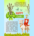 easter greeting poster paschal eggs willow vector image vector image