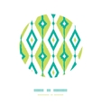 Emerald green ikat diamonds circle decor patterns vector image