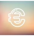 Euro Symbol thin line icon vector image