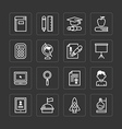flat icons set of education school tools vector image