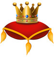 gold crown on a crimson cushion vector image vector image